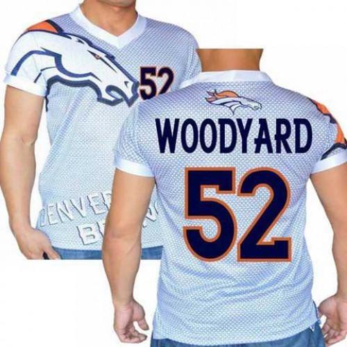 detailed look 2d124 3c62f Denver Broncos White #52 Wesley Woodyard Stretch Name Number ...