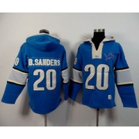 Detroit Lions #20 Barry Sanders Blue Player Winning Method Pullover NFL Hoodie
