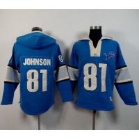 Detroit Lions #81 Calvin Johnson Blue Player Winning Method Pullover NFL Hoodie