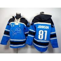 Detroit Lions #81 Calvin Johnson Blue Sawyer Hooded Sweatshirt NFL Hoodie