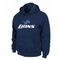 Detroit Lions Authentic Logo Pullover Hoodie Dark Blue