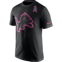 Detroit Lions Nike Breast Cancer Awareness Team Travel Performance T-Shirt Black
