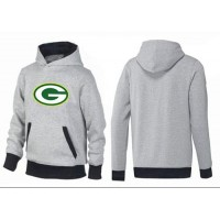 Green Bay Packers Logo Pullover Hoodie Grey & Black