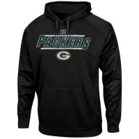 Green Bay Packers Majestic Synthetic Hoodie Sweatshirt Black