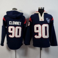 Houston Texans #90 Jadeveon Clowney Navy Blue Player Winning Method Pullover NFL Hoodie