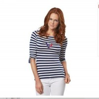 Houston Texans Lady Striped Boatneck Three-Quarter Sleeve T-Shirt