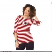 Kansas City Chiefs Lady Striped Boatneck Three-Quarter Sleeve T-Shirt