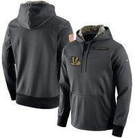 Men's Cincinnati Bengals Nike Anthracite Salute to Service Player Performance Hoodie