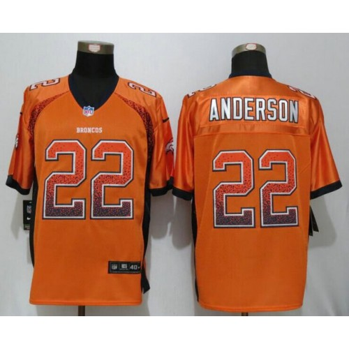 Men s Denver Broncos  22 C.J. Anderson Orange Stitched Nike NFL Drift  Fashion Elite Jersey 91d612e31