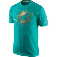 Men's Miami Dolphins Nike Aqua Championship Drive Gold Collection Performance T-Shirt