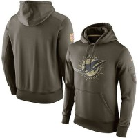 Men's Miami Dolphins Nike Olive Salute To Service KO Performance Hoodie
