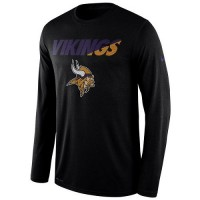 Men's Minnesota Vikings Nike Black Legend Staff Practice Long Sleeves Performance T-Shirt