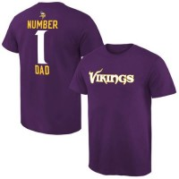 Men's Minnesota Vikings Pro Line College Number 1 Dad T-Shirt Purple
