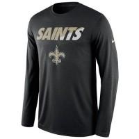 Men's New Orleans Saints Nike Black Legend Staff Practice Long Sleeves Performance T-Shirt