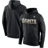 Men's New Orleans Saints Nike Black Sideline Circuit Pullover Performance Hoodie