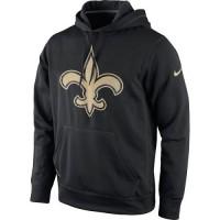Men's New Orleans Saints Nike Black Warp Performance Pullover Hoodie