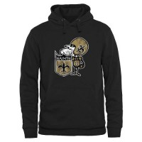 Men's New Orleans Saints Pro Line Black Throwback Logo Pullover Hoodie