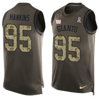 Men's New York Giants #95 Johnathan Hankins Green Limited Salute to Service Tank Top Nike NFL jersey