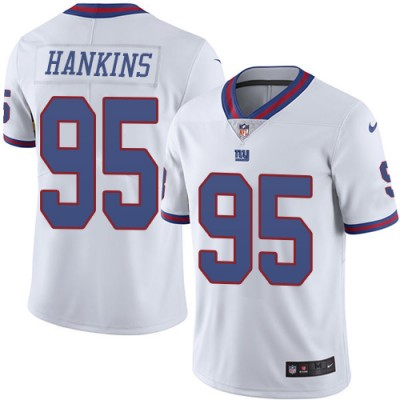 Men's New York Giants #95 Johnathan Hankins Limited White Rush NFL Jersey