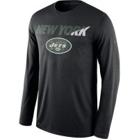 Men's New York Jets Nike Black Legend Staff Practice Long Sleeves Performance T-Shirt