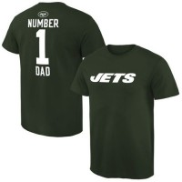 Men's New York Jets Pro Line College Number 1 Dad T-Shirt Green