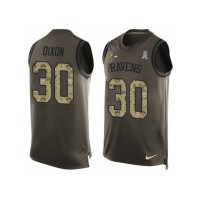 Men's Nike Baltimore Ravens #30 Kenneth Dixon Limited Green Salute to Service Tank Top NFL Jersey