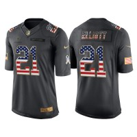 Men's Nike Dallas Cowboys #21 Ezekiel Elliott Anthracite Stitched NFL Limited Salute to Service USA Flag Fashion Jersey