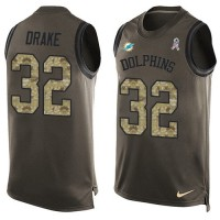 Men's Nike Miami Dolphins #32 Kenyan Drake Limited Green Salute to Service Tank Top NFL Jersey
