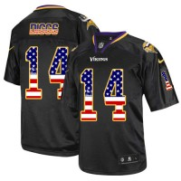 Men's Nike Minnesota Vikings #14 Stefon Diggs Elite Black USA Flag Fashion NFL Jersey