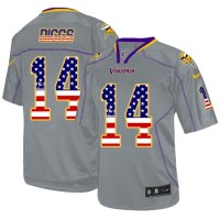 Men's Nike Minnesota Vikings #14 Stefon Diggs Elite Grey USA Flag Fashion NFL Jersey