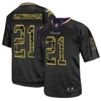 Men's Nike Minnesota Vikings #21 Josh Robinson Elite Black Camo Fashion Jersey