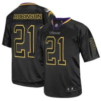 Men's Nike Minnesota Vikings #21 Josh Robinson Elite Lights Out Black Jersey