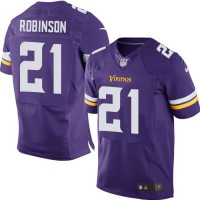 Men's Nike Minnesota Vikings #21 Josh Robinson Purple Stitched NFL Elite Jersey