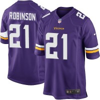 Men's Nike Minnesota Vikings #21 Josh Robinson Purple Stitched NFL Game Jersey