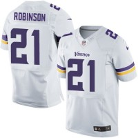 Men's Nike Minnesota Vikings #21 Josh Robinson White Stitched NFL Elite Jersey