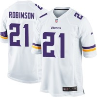 Men's Nike Minnesota Vikings #21 Josh Robinson White Stitched NFL Game Jersey