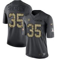 Men's Nike Minnesota Vikings #35 Marcus Sherels Black Limited 2016 Salute to Service NFL Jersey