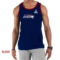Men's Nike NFL Seattle Seahawks 2015 Super Bowl XLIX Sideline Legend Authentic Logo Tank Top Dark Blue
