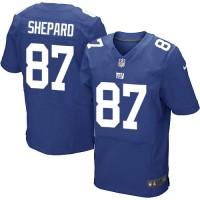 Men's Nike New York Giants #87 Sterling Shepard Elite Royal Blue Team Color NFL Jersey