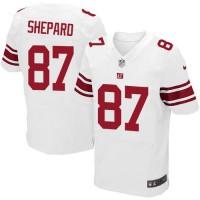 Men's Nike New York Giants #87 Sterling Shepard Elite White NFL Jersey