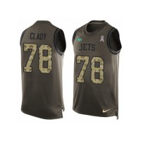 Men's Nike New York Jets #78 Ryan Clady Limited Green Salute to Service Tank Top NFL Jersey