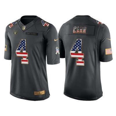 Men's Nike Oakland Raiders #4 Derek Carr Anthracite Stitched NFL Limited Salute to Service USA Flag Fashion Jersey