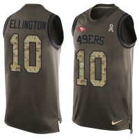 Men's Nike San Francisco 49ers #10 Bruce Ellington Limited Green Salute to Service Tank Top NFL Jersey