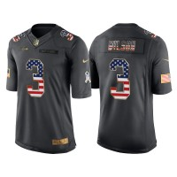 Men's Nike Seattle Seahawks #3 Russell Wilson Anthracite Stitched NFL Limited Salute to Service USA Flag Fashion Jersey
