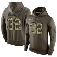 Men's Nike Seattle Seahawks #32 Christine Michael SR Stitched Green Olive Salute To Service KO Performance Hoodie