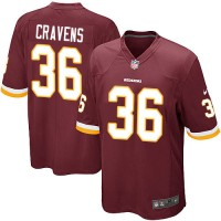 Men's Nike Washington Redskins #36 Su'a Cravens Game Burgundy Red Team Color NFL Jersey
