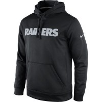 Men's Oakland Raiders Nike Black KO Wordmark Performance Hoodie