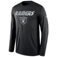 Men's Oakland Raiders Nike Black Legend Staff Practice Long Sleeves Performance T-Shirt