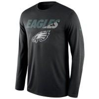 Men's Philadelphia Eagles Nike Black Legend Staff Practice Long Sleeves Performance T-Shirt