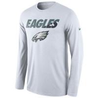 Men's Philadelphia Eagles Nike White Legend Staff Practice Long Sleeves Performance T-Shirt
